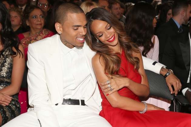Chris Brown and Rihanna attend the 55th Annual Grammy Awards at Staples Center, Los Angeles, on February 10, 2013