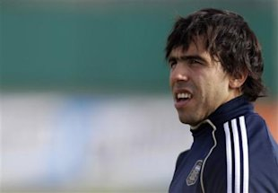 Argentina's Carlos Tevez attends a training session in Buenos Aires, Argentina, Friday, July 8, 2011. Argentina will face Costa Rica in a Group A Copa