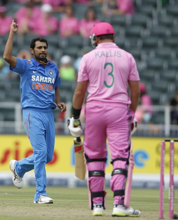 India's Shami celebrates bowling out South Africa's Kallis during 1st One-Day International (ODI) in Johannesburg