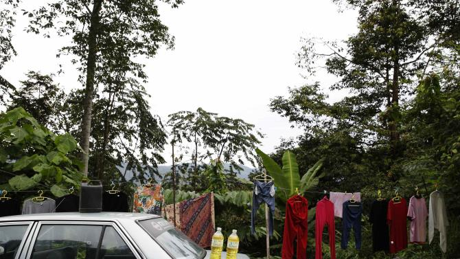 Petrol is seen for sale at a jungle smallholding in Hulu Langat