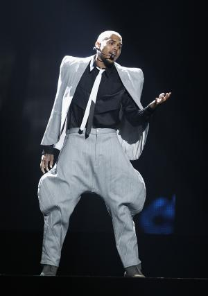Chris Brown performs at the BET Awards on Sunday, June 26, 2011, in Los Angeles. (AP Photo/Matt Sayles)