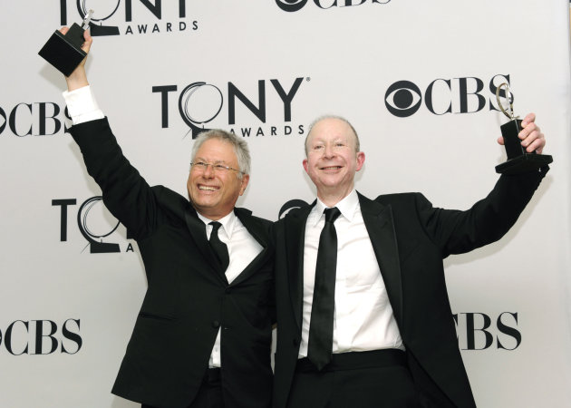 "FILE - This June 10, 2012 file photo shows Composers Alan Menken, left, and Jeff Feldman in the press room at the 66th Annual Tony Awards in New York. Menken and Feldman are nominated for a Grammy Award for best theater album for the Broadway musical ""Newsies."" (Photo by Evan Agostini/Invision/AP, file)"