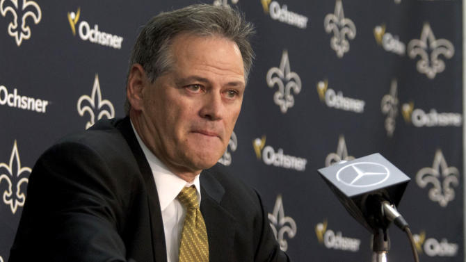 New Orleans Saints general manager Mickey Loomis speaks during a media availability at the team's training facilities on NFL football draft day, Thursday, April 26, 2012, in Metairie, La. (AP Photo/Matthew Hinton)