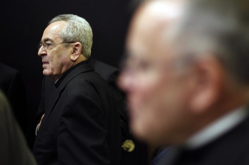Cardinal Justin Rigali, left and Denver Archbishop Charles Chaput are seen after a news conference Tuesday, July 19, 2011, in Philadelphia. The Vatican on Tuesday named Chaput as Rigali's successor as Archbishop of Philadelphia. (AP Photo/Matt Rourke)