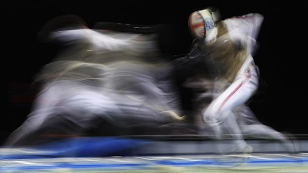 Britain's Richard Kruse competes in the Men's Individual Foil Fencing competition for an Olympic test event at the Excel centre in London November 26, 2011 (Reuters)