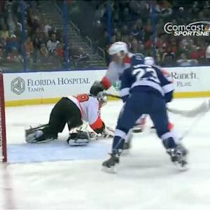 Ray Emery stretches for the toe save