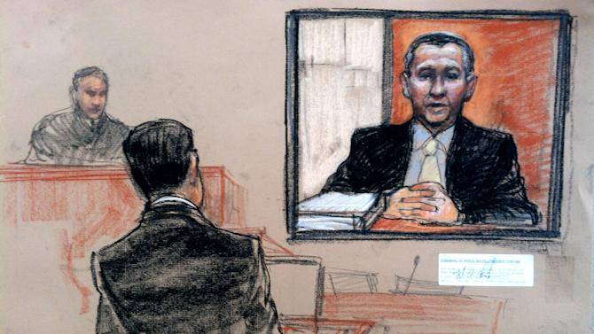 In this pool photo of a sketch by courtroom artist Janet Hamlin and reviewed by the U.S. Department of Defense, U.S. Navy Cmdr. Walter Ruiz, right, defense lawyer of co-defendant Mustafa Ahmad al-Hawsawi, asks questions via video conference to retired U.S. Navy Vice Admiral Bruce MacDonald, center, who last served as the 40th Judge Advocate General of the Navy, during the pretrial hearings at the Guantanamo Bay U.S. Naval Base in Cuba, Monday, June 17, 2013. Five Guantanamo Bay prisoners accused of helping orchestrate the Sept. 11 terrorist attacks returned to court Monday as arguments resumed over the preparations for a trial that remains distant. (AP Photo/Janet Hamlin, Pool)