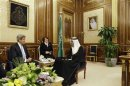 U.S. Secretary of State Kerry meets with Saudi Arabia's Deputy Foreign Minister Prince Abdulaziz at Al-Yamamah Palace in Riyadh