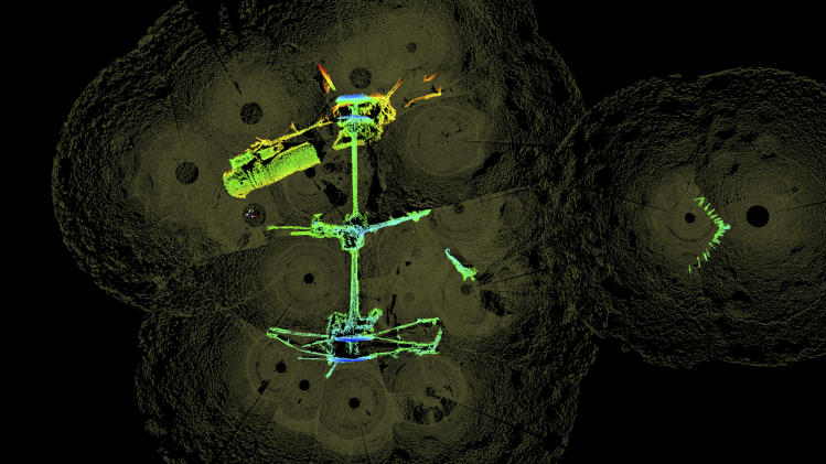 This 2012 high-resolution 3-D sonar image provided by the National Oceanic and Atmospheric Administration shows the remains of the USS Hatteras, the only U.S. Navy ship sunk in combat in the Gulf of Mexico during the Civil War. The image shows the ship's stern and rudder to the right, the paddlewheel shaft, engine machinery and one of the paddlewheels. (AP Photo/NOAA, Northwest Hydro Inc., James Glaeser)