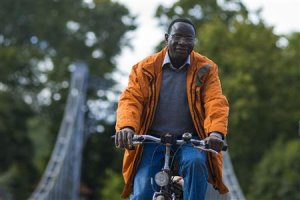 Halle constituency SPD candidate Diaby cycles in park in Halle
