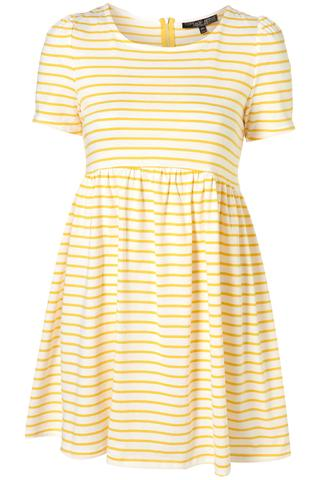 Petite Yellow Stripe Curve Seam Dress, $60, at Topshop