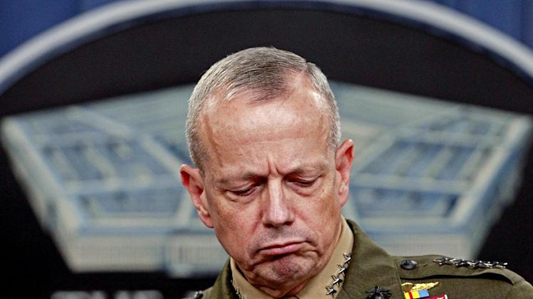 Marine Gen. John R. Allen, commander of the International Security Assistance Force, pauses during a news conference at the Pentagon, Wednesday, May 23, 2012.  (AP Photo/Haraz N. Ghanbari)