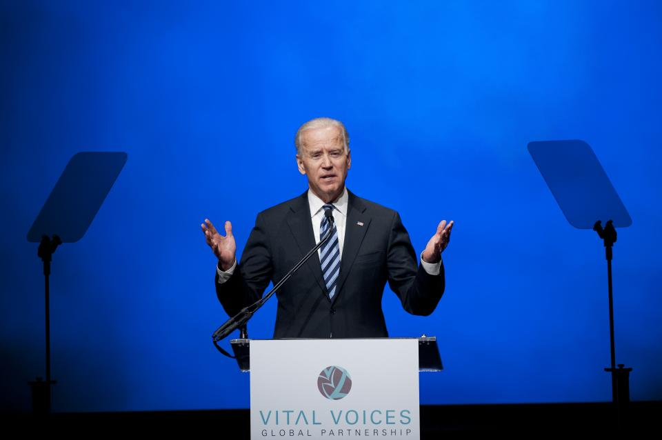 Vice President Joe Biden addresses the Vital Voices Global Partnership 2013 Global Leadership Awards gala at the Kennedy Center for the Performing Arts in Washington, Tuesday, April 2, 2013. (AP Photo/Cliff Owen)
