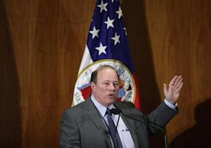 Detroit Mayor Mike Duggan gives the first State of the City address since the city declared bankruptcy, in Detroit