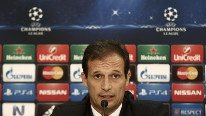 Juventus' coach Allegri addresses reporters during a news conference on the eve of their Champions League soccer match against Olympiakos in Piraeus near Athens