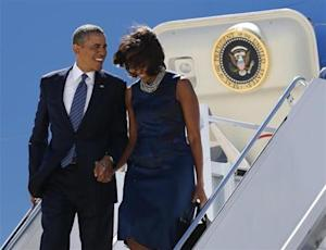 U.S. President Barack Obama and first lady Michelle Obama arrive in New York