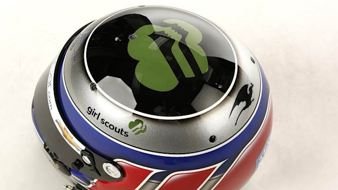 In this image provided by Girl Scouts, Katherine Legge's new race helmet featuring the Girl Scouts logo is photographed in a studio at the Indianapolis Motor Speedway on Thursday, May 24, 2012 in Indianapolis, Indiana. (Photo by Mike Levitt/Invision for Girl Scouts)