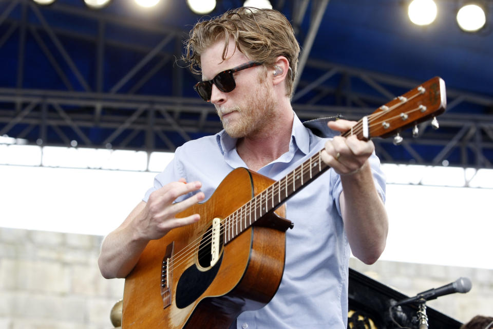 Wesley Schultz of The Lumineers performs at the 54th edition of the Newport Folk Festival in Newport, R.I. on Sunday, July 28, 2013. (AP Photo/Joe Giblin)