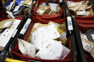 Sorted parcels are seen at Mount Pleasant sorting office in London