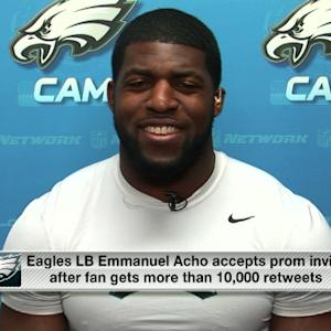Why is Philadelphia Eagles linebacker Emmanuel Acho going back to prom?