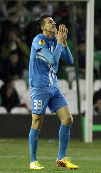 Rijeka's Ivan Krstanovic reacts during an Europa League group I soccer match between Betis and Rijeka at the Benito Villamarin stadium in Sevilla, Spain, Thursday, Dec. 12, 2013