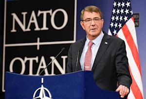 US defense minister Ashton Carter speaks at NATO Headquarters …