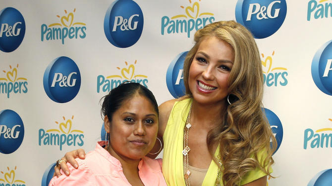 IMAGE DISTRIBUTED FOR P&G - As part of P&G's #EverydayEffect Live from NYC, Thalia delivers Pampers kits to new moms on Wednesday, June 19, 2013.  The largest consumer event in the P&G's 175 year history served the daily needs of New Yorkers and demonstrated how P&G products make everyday life better. Go to Facebook.com/PGEveryday for more information. (Photo by Mark Von Holden/Invision for P&G/AP Images)