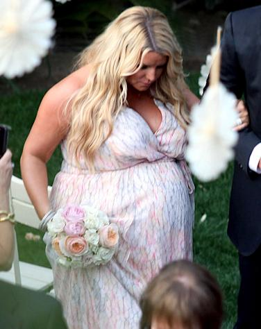 Pregnant Jessica Simpson Wears Colorful Bridesmaids Dress at Wedding
