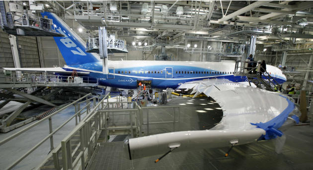 File- This April 30, 2009 file photo shows a Boeing 787, painted in the company's colors, stands in the paint hangar at the company's facility in Everett, Wash. Boeing's much-delayed 787 D
