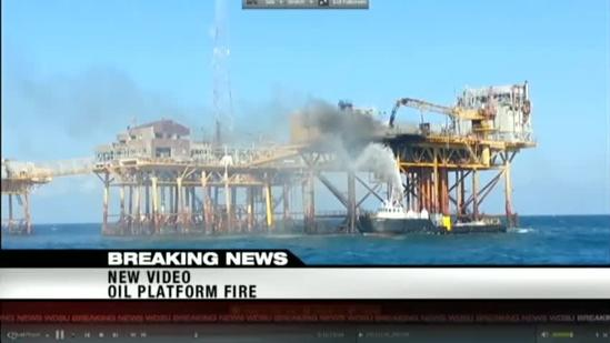 Video shows crews battling platform fire in Gulf of Mexico