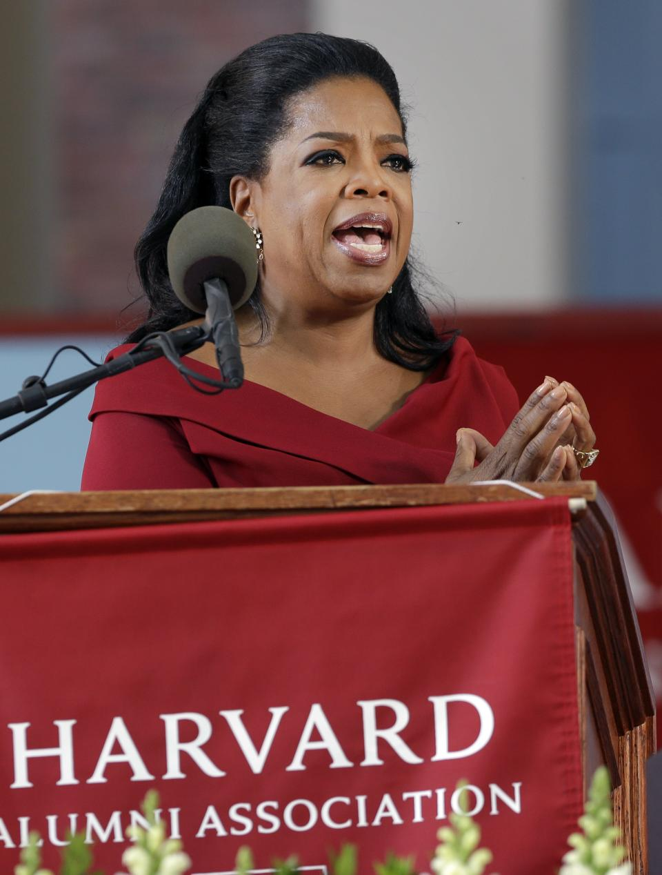 Oprah Winfrey speaks during Harvard University's commencement ceremonies in Cambridge, Mass., Thursday, May 30, 2013. She earlier received an honorary Doctor of Laws degree. (AP Photo/Elise Amendola)