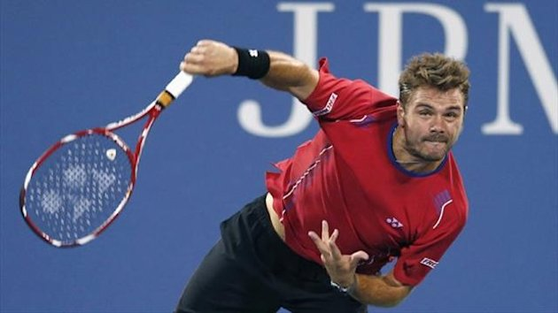 Stanislas Wawrinka of Switzerland serves to Tomas Berdych of the Czech Republic at the US Open (Reuters)