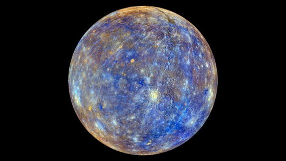This colorful view of Mercury was produced by using images from the color base map imaging campaign during MESSENGER's primary mission. These colors are not what Mercury would look like to the human eye, but rather the colors enhance the chemic