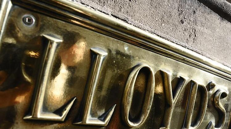 A Lloyds plaque is seen on offices in The City of London