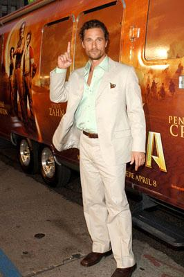 Matthew McConaughey at the Hollywood premiere of Paramount Pictures' Sahara
