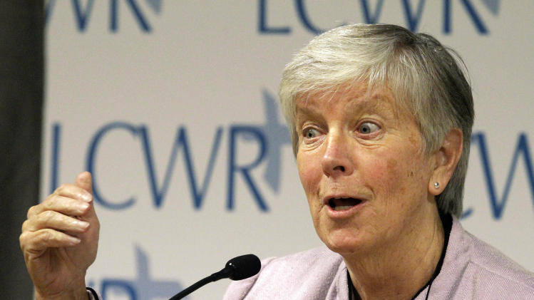 Sister Mary Waskowiak speaks to reporters during the Leadership Conference of Women Religious (LCWR) assembly Thursday, Aug. 9, 2012 in St. Louis. The LCWR, the largest U.S. group for Roman Catholic nuns, are meeting to decide how they should respond to a Vatican rebuke and order for reform. The LCWR represents about 80 percent of the 57,000 U.S. sisters. (AP Photo/Seth Perlman)