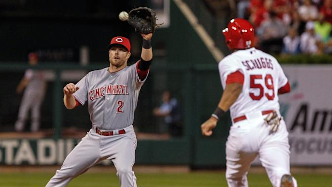 Cincinnati Reds shortstop Zack Cozart takes the throw on a a double play hit into by St. Louis Cardinals' Lance Lynn during the fifth inning of a baseball game Sunday, Sept. 21, 2014, in St. Louis. Xavier Scruggs was out at second. (AP Photo/Sarah Conard)