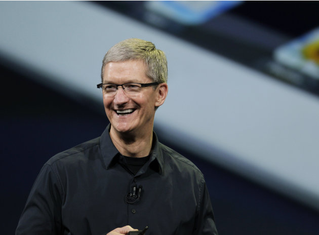 "FILE - In this Wednesday, March 7, 2012 photo, Apple CEO Tim Cook announces the new iPad in San Francisco. Apple CEO Tim Cook is calling a shareholder lawsuit against the company a ""silly sideshow,""on"