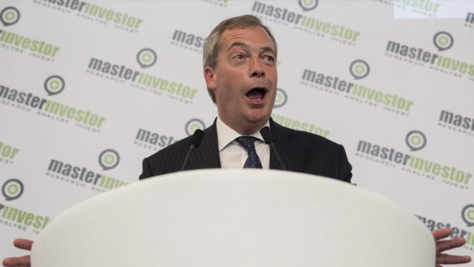 United Kingdom Independence Party leader Nigel Farage delivers a speech at the Master Investor show in north London