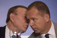 Brazilian Football Confederation President Jose Maria Marin, right, talks to Brazil's soccer coach Mano Menezes during a press conference in Rio de Janeiro, Brazil, Friday, May 11, 2012. (AP Photo/Felipe Dana)