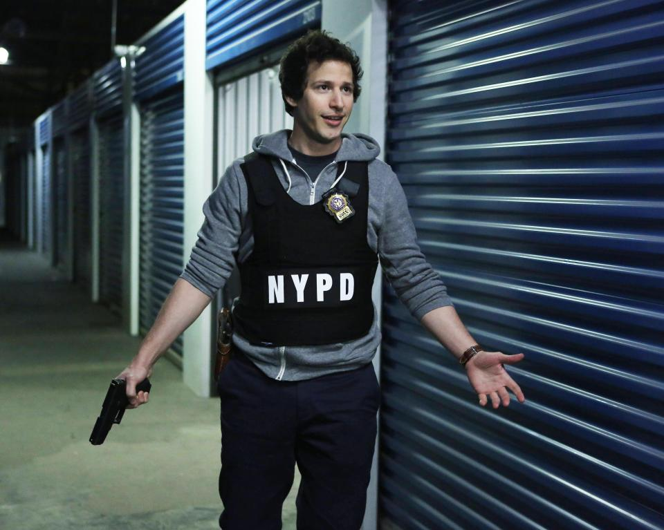 "This publicity image released by Fox shows Andy Samberg in ""Brooklyn Nine Nine,"" premiering Sept. 17 at 8:30 p.m. EST. (AP Photo/Fox, Beth Dubber)"
