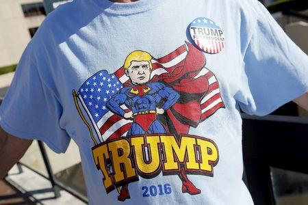 A supporter of Republican U.S. presidential candidate Trump wears a t-shirt before his rally in Baton Rouge