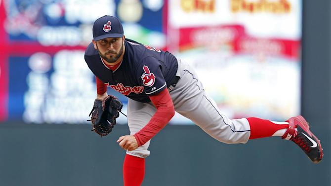 Cleveland Indians pitcher T.J. House throws against the Minnesota Twins in the first inning of a baseball game, Sunday, April 19, 2015, in Minneapolis. (AP Photo/Jim Mone)