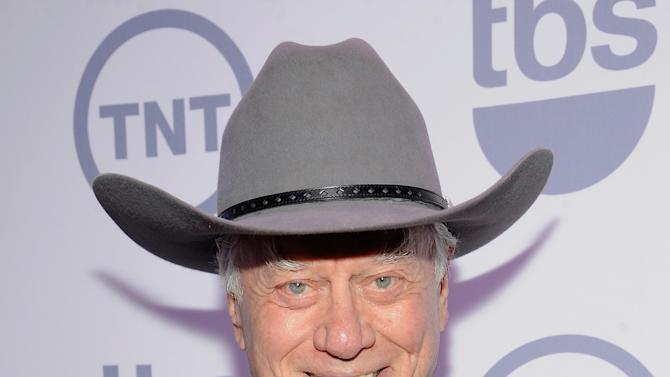 """FILE - This May 16, 2012 file photo shows actor Larry Hagman from the show """"Dallas"""" at the TNT and TBS upfront presentation at the Hammerstein Ballroom in New York. TNT begins the second season of its """"Dallas"""" revival next month. The network said Tuesday, Dec. 11, that it will hold a funeral for Larry Hagman's memorable character at some point in the 15-episode season but that it hasn't been filmed or scheduled yet. Hagman died at age 81 over the Thanksgiving weekend. (AP Photo/Evan Agostini, file)"""