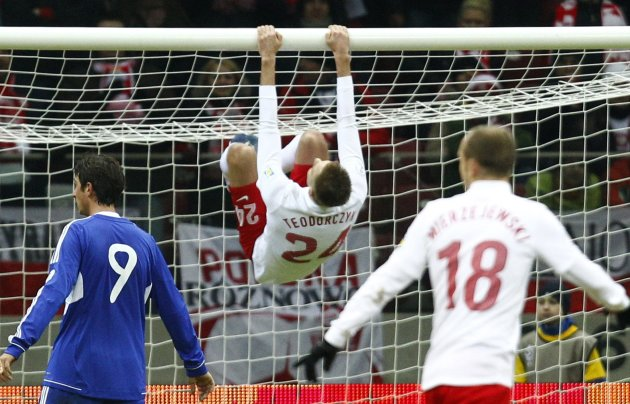 Poland's Teodorczyk celebrates after scoring a goal against San Marino during their World Cup qualifying Group H soccer match in Warsaw