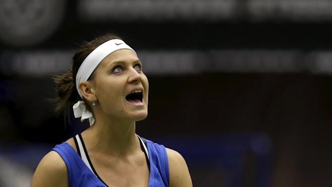 Czech Republic's Lucie Safarova reacts during their semi-final match of the Fed Cup tennis tournament against France's Caroline Garcia in Ostrava