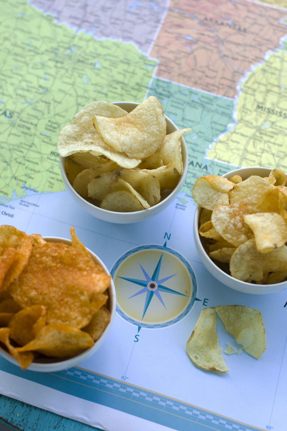 In this image taken on July 30, 2012, from left, Poore Brother's Habanero, Route 11 Chips Chesapeake Crab, and Boulder Canyons Red Wine Vinegar, potato chips are shown in Concord, N.H. (AP Photo/Matthew Mead)