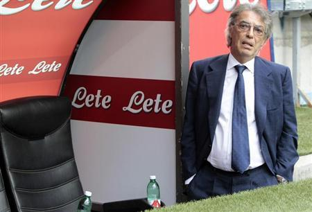 Inter Milan's president Massimo Moratti looks on before the start of their Italian Serie A soccer match against Genoa at the San Siro stadium in Milan August 25, 2013. REUTERS/Alessandro Garofalo/File