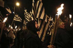 Supporters of Greece's far-right Golden Dawn party take part in a rally at central Syntagma square in Athens