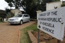 A car drives from the residence of slain charge d'affaires Fonseca at Venezuela's embassy at the Runda neighbourhood in Nairobi